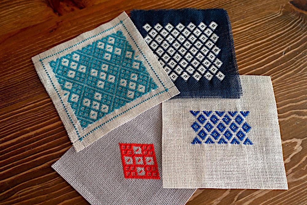 「麻の布と木綿の糸で伝統的な模様を楽しむコースター作り」